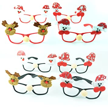 4d5fd0ead080 4pk Novelty Christmas Party Glasses Xmas Fancy Costume Accessories Christmas  Socking Fillers Snowman