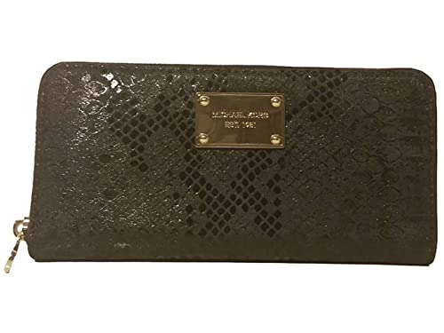 2827bbc10734 Image Unavailable. Image not available for. Color: Michael Michael Kors Jet  Set Embossed Leather Zip Around Continental Wallet Black