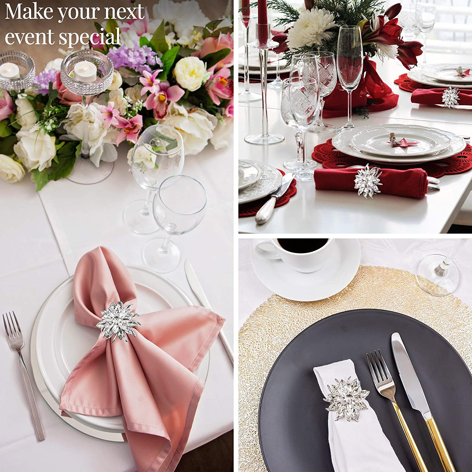 6 Pcs Luxury Table Napkins Round Serviette Buckles Holder Reusable with Delicate Unique Pattern Lotus Flower for Wedding Dining Kitchen Decor Birthday Christmas Party Napkin Rings Metal Silver Set