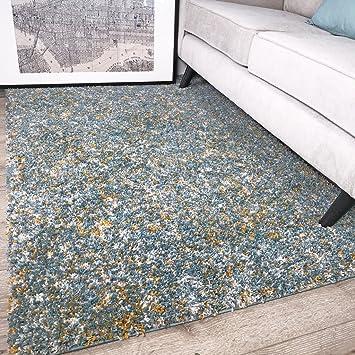 The Rug House Tapis Murano Bleu Canard Et Jaune Moutarde