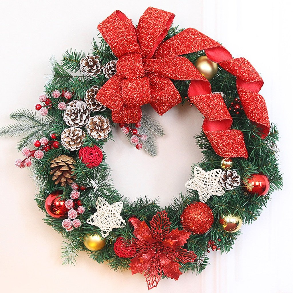 Christmas wreath Ornament Lily Red Bowknot Shopping Center Hotel Window Scene Decoration ( Size : 100cm )