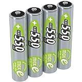ANSMANN LSD Micro AAA Akkubatterie, 1,2V / Typ 550mAh / NiMH Hochleistungsakkus mit maxE Technologie für hohe Langlebigkeit - ideal für Geräte mit hohem Stromverbrauch, 1 x 4 Stück
