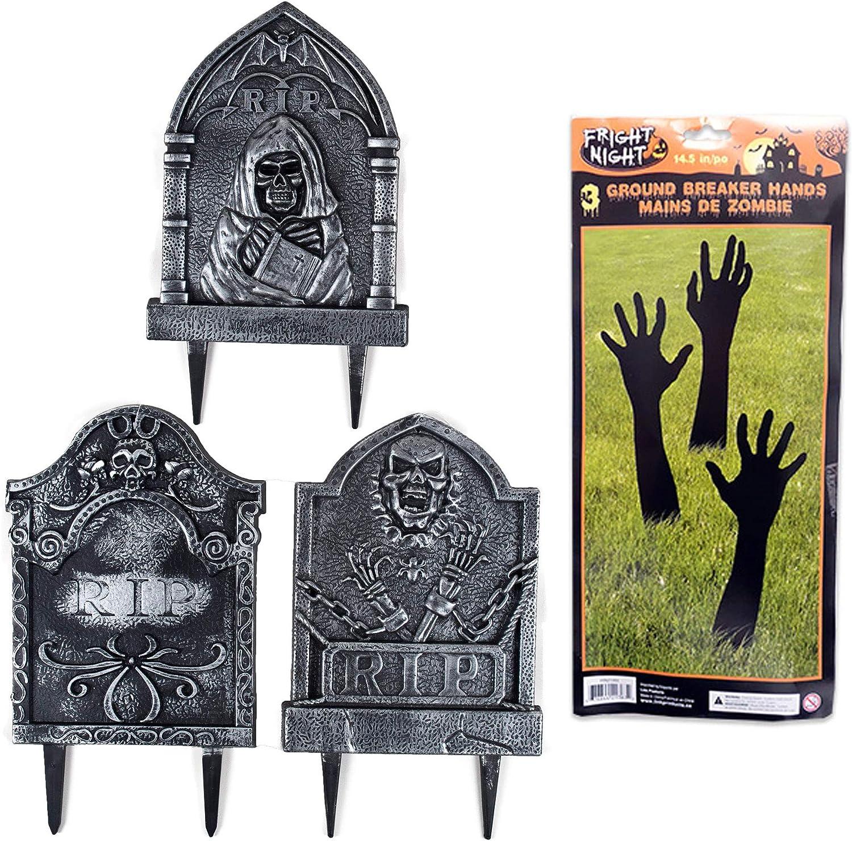 Halloween Tombstones and Ground Breaker Hands, Halloween Decorations Outdoor, Scary Halloween Decoration, Halloween Yard Decorations, Outside Halloween Decorations, Graveyard Fence Decorations