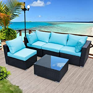 Viewee 5-Piece Patio Furniture Set PE Black Rattan All-Weather Wicker Sectional Outdoor Sofa Washable Blue 4-Cushions & 6-Pillows (Extra Gift: Ratchet/Hex/Allen Wrench)