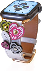 CAVAARTIS Designer Handmade Love Heart Genuine Leather Watch Band Compatible with Apple Watch Series 1 2 3 4 5 | White Rose Gold (42mm/44mm)
