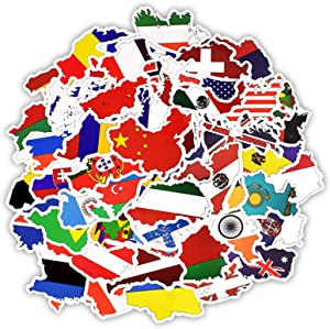 50 Pcs Flag map Vinyl Waterproof Stickers, for Laptop, Luggage, Car, Skateboard, Motorcycle, Bicycle Decal Graffiti Patches