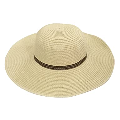 9ad12996 JTC Kids Summer UV Sun Hat Girls Floppy Wide Brim Straw Hat 6 Colors (Beige