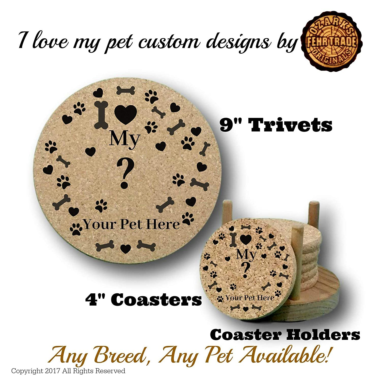 Plus Coaster Holder or 9 Trivet gift set 4 round drink coasters USA made by Ozarks Fehr Trade Originals I love my Poodle premium cork coaster set