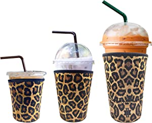 3 Pack Reusable Iced Coffee Sleeve | Insulator Cup Sleeve for Cold Drinks Beverages | Neoprene Cup Holder | Ideal for Starbucks, McDonalds, Dunkin Donuts & More (Leopard)