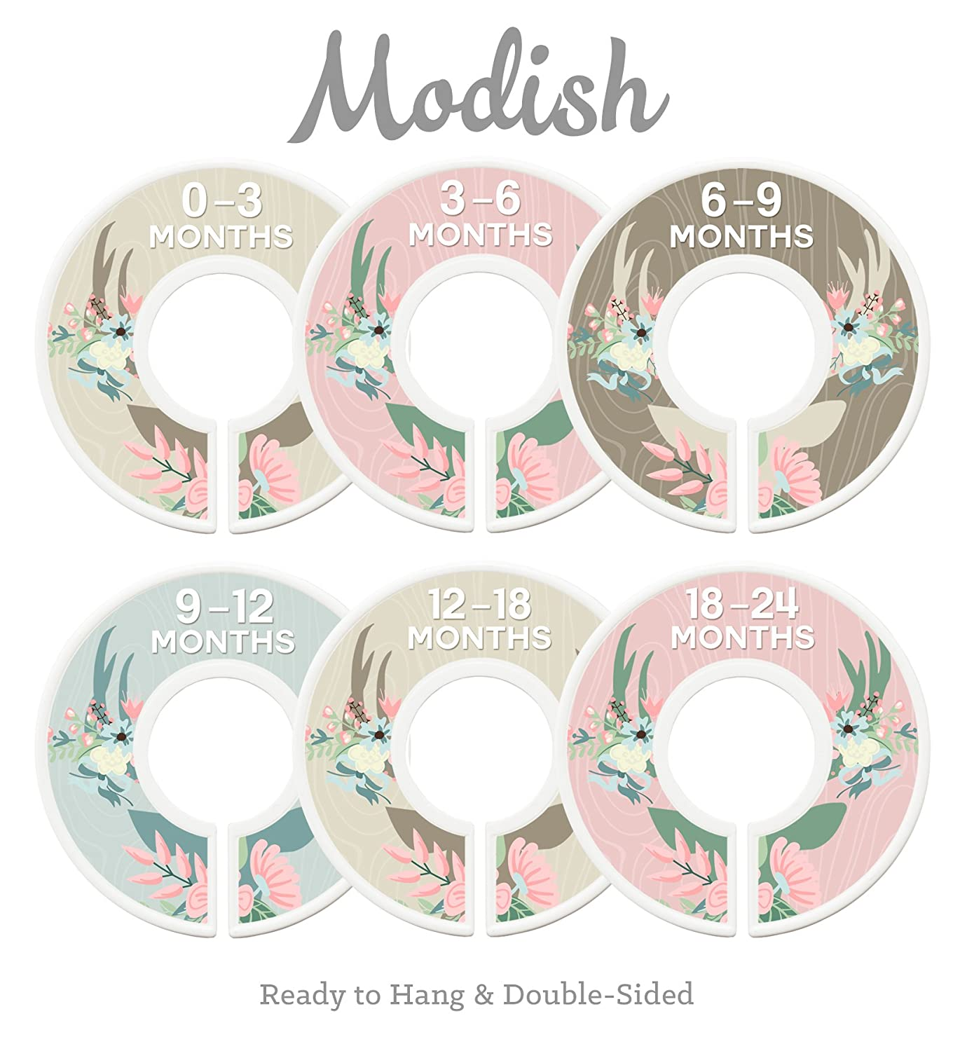 Modish Labels Baby Nursery Closet Dividers, Closet Organizers, Nursery Decor, Baby Girl, Deer, Floral Antlers, Flowers, Woodland Inc. 687847980247
