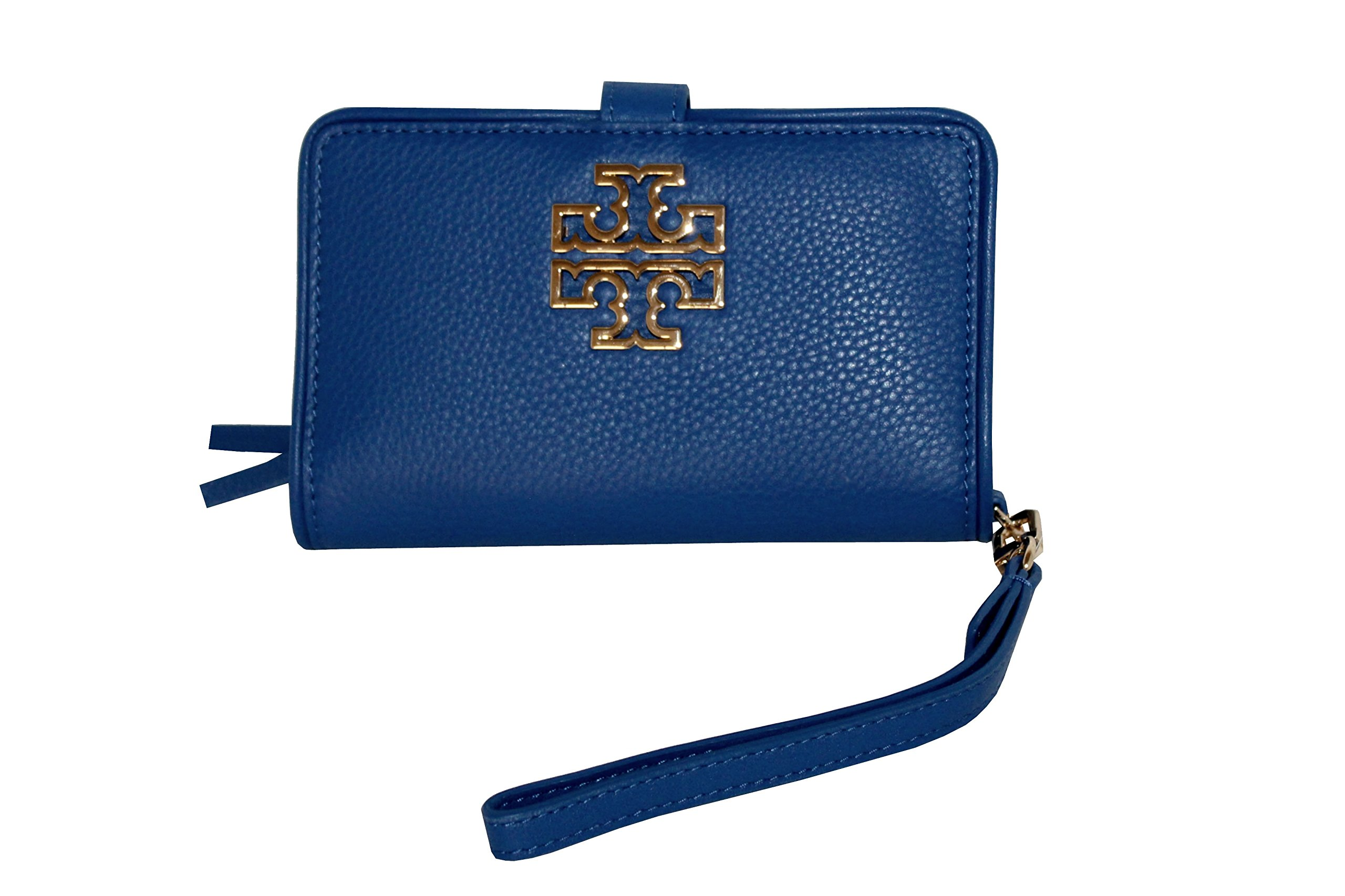 TORY BURCH BRITTEN SMART PHONE WRISTLET LEATHER WOMEN'S WALLET (BONDI BLUE) by Tory Burch