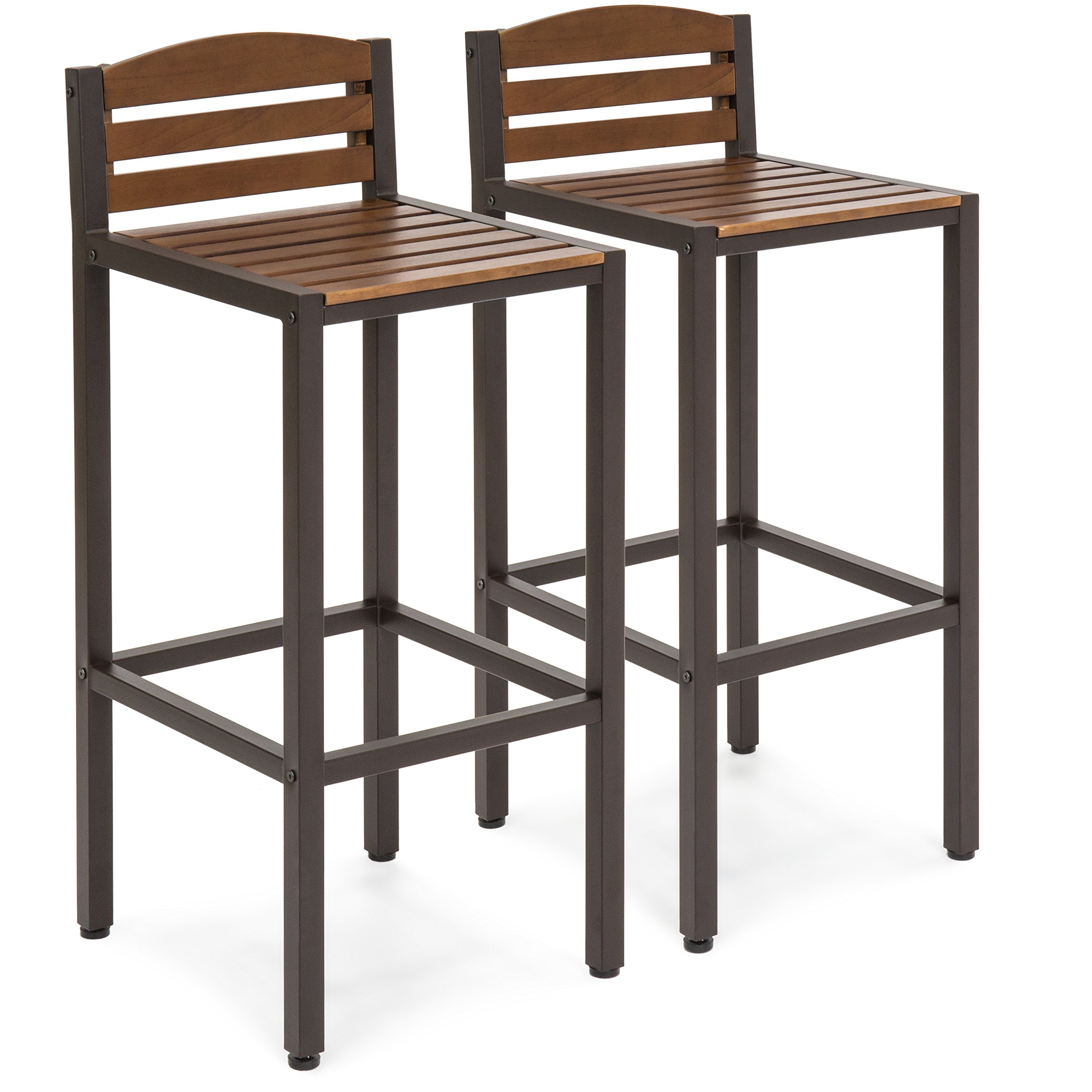 Best Choice Products Set of 2 Outdoor Acacia Wood Patio Accent Barstools with Slatted Seat and Backrest, Brown by Best Choice Products