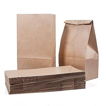 Vordas 50 Piezas Bolsas de Papel Kraft Boda 28 x 15 x 8.5 cm - 70 g./m2, Ideal para Bolsas de Regalo, Bolsas de Fiesta, Calendario de Adviento, ...