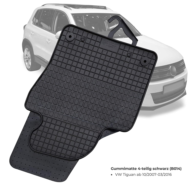 GERCAR Passgenaue Gummimatte 4-teilig in schwarz f/ür VW Tiguan ab 10//2007-03//2016 Passform Fu/ßmatten inklusive Befestigungssystem B014