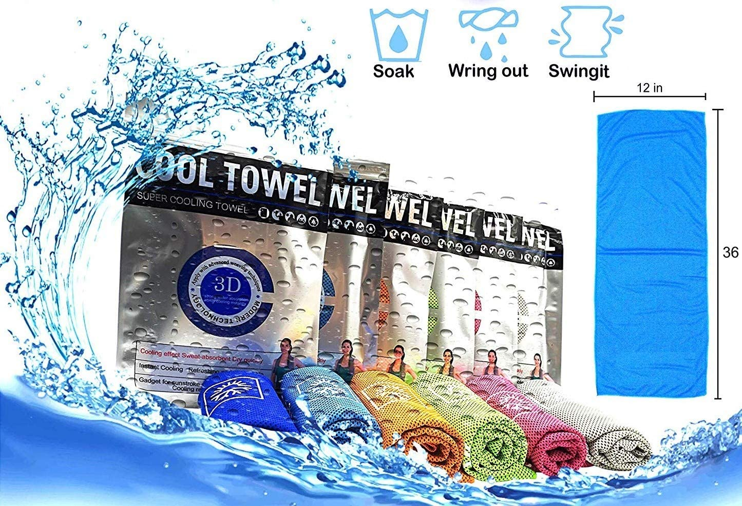 Super Cooling Towel Microfiber Towel Fast Drying - Super Absorbent - Ultra Compact Cooling Towel for Sports, Workout, Fitness, Gym, Yoga, Pilates, Travel, Camping (Large, Light Blue)