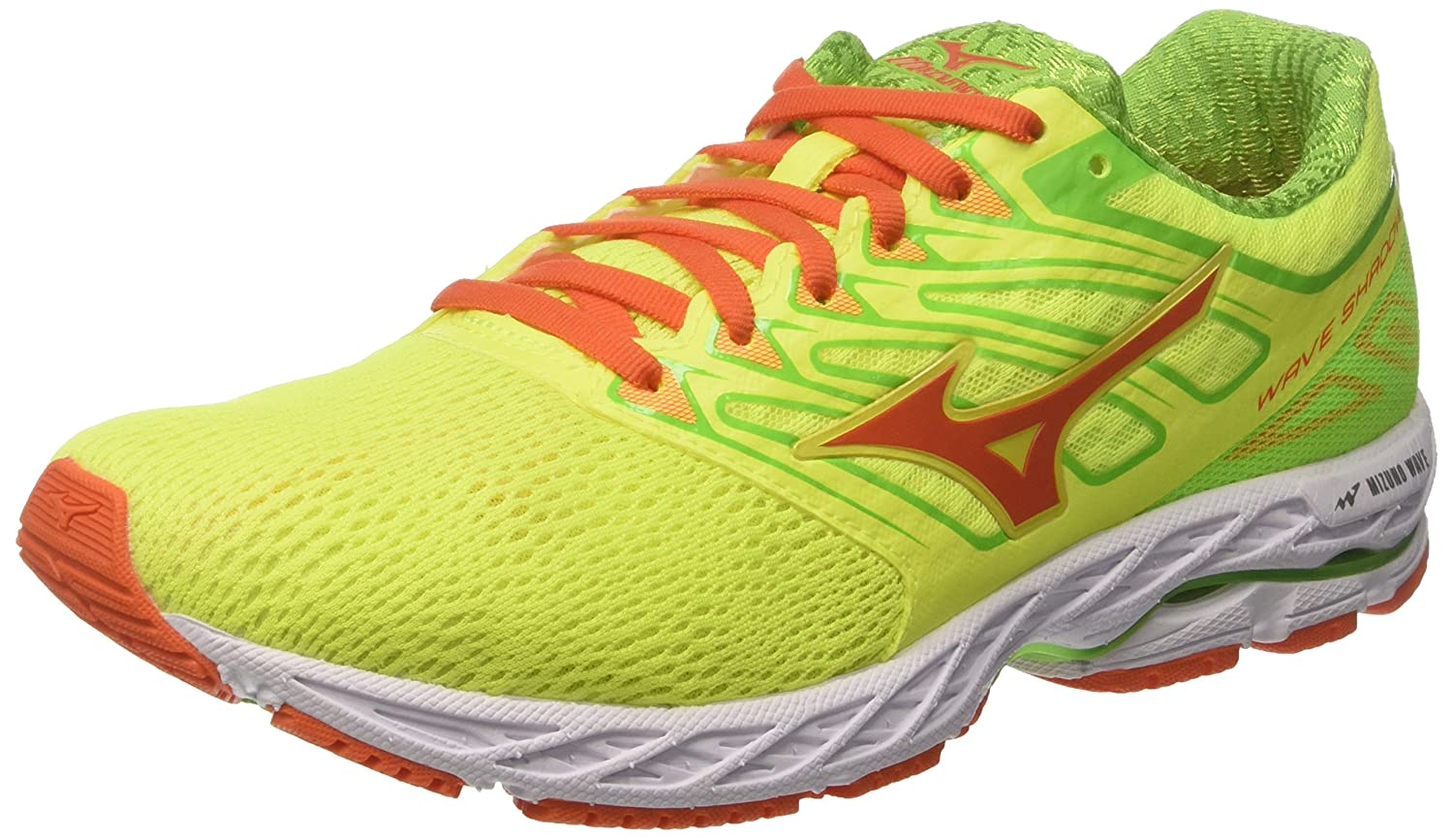 Mizuno Wave Shadow, Zapatillas de Gimnasia para Hombre 42.5 EU|Giallo (Safety Yellow/Red Orange/Jasmine Green)