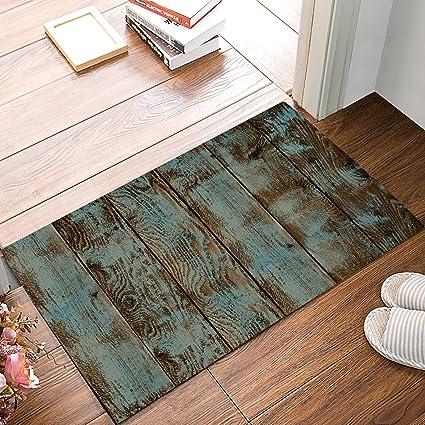 5a228d6875 HomeCreator Country Rustic Old Barn Wood Vintage Door Mats Kitchen Floor  Bath Entryway Rug Mat Absorbent