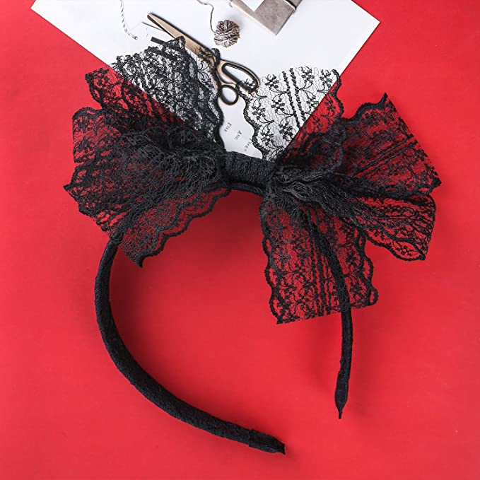Kerier 3 pezzi in pizzo con fiocco fascia per capelli anni  80 per gli  accessori da festa degli anni  80 f0edddd1c8ef