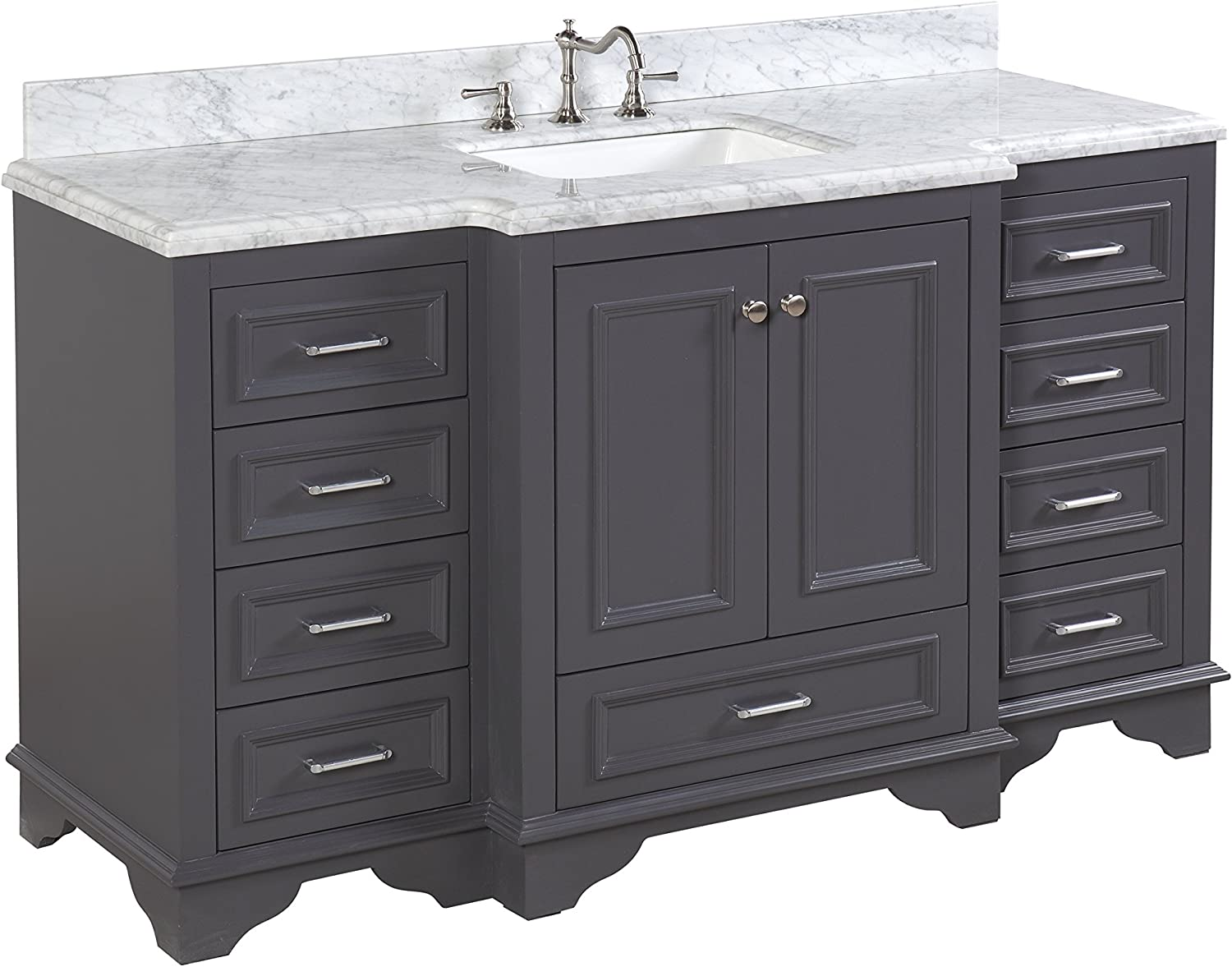 Nantucket 60-inch Single Bathroom Vanity Carrara Charcoal Gray Includes Charcoal Gray Cabinet with Soft Close Drawers Self Closing Doors, Italian Carrara Marble Top, and White Ceramic Sink