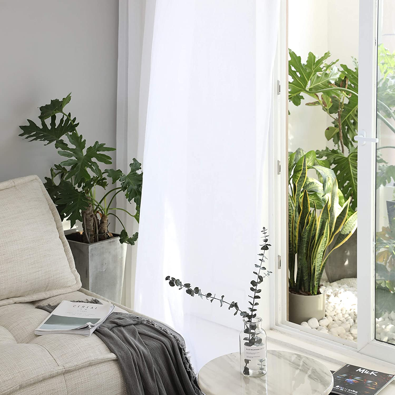 HOME BRILLIANT Semi Sheer Rideaux Blanc ray/é Voile fen/être Panneaux pour Chambre /à Coucher de Cuisine Closet Tier Rideaux Passe Tringle Moderne Curtains W 54 x L 45 Lin