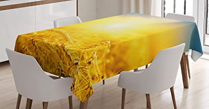 Yellow And Blue Tablecloth By Ambesonne, Sunset Over Harvest Wheat Nature  Rural Field Autumn Landscape