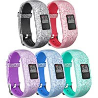 SKYLET Compatible with Garmin Vivofit 3 Vivofit JR JR.2 Bands, Pattern Soft Silicone Bands Compatible with Garmin vivofit JR JR.2 Bands with Secure Watch Buckle Women Men (No Tracker)