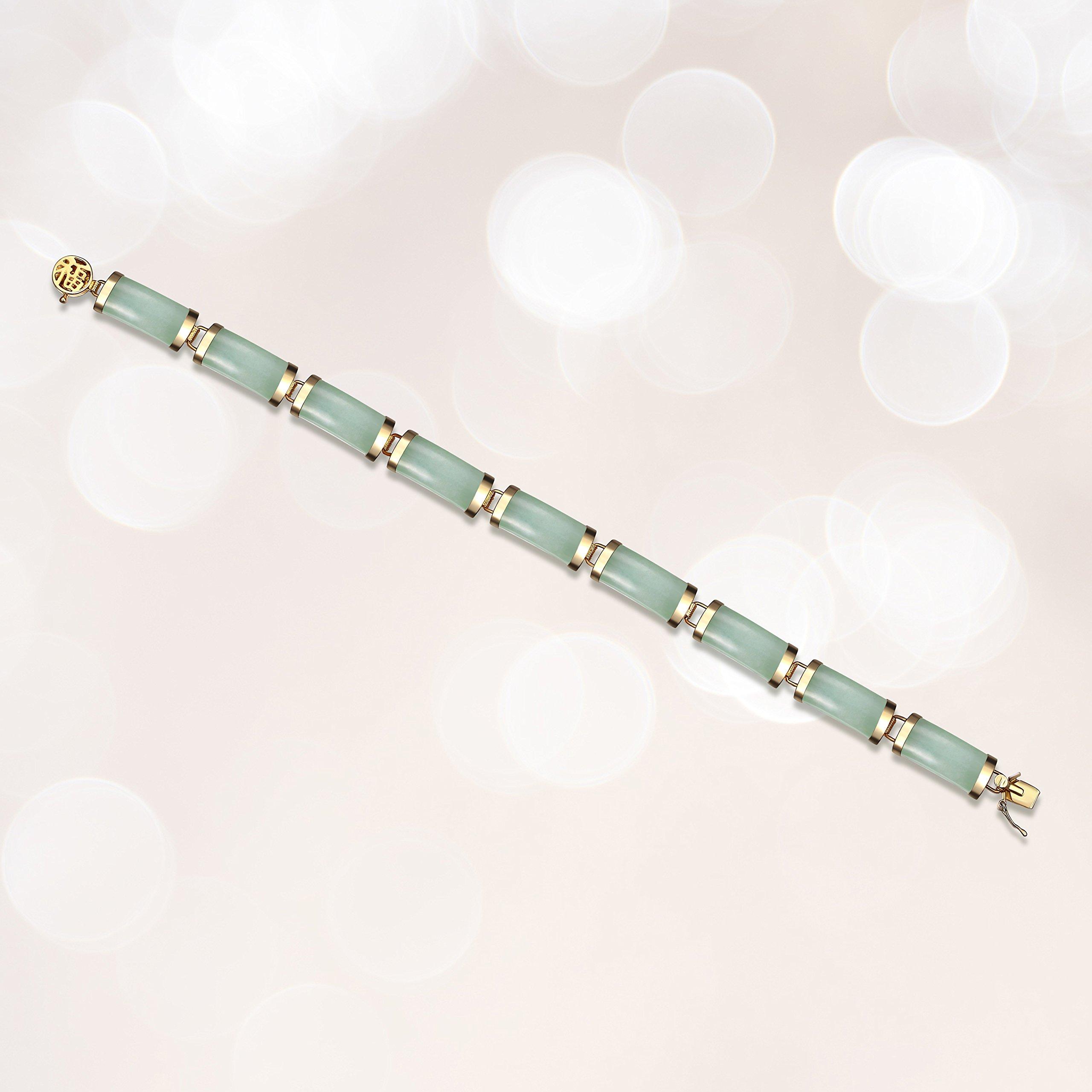 18k Yellow Gold Plated Sterling Silver Genuine Green Jade Noodle Link Bracelet, 7.25''