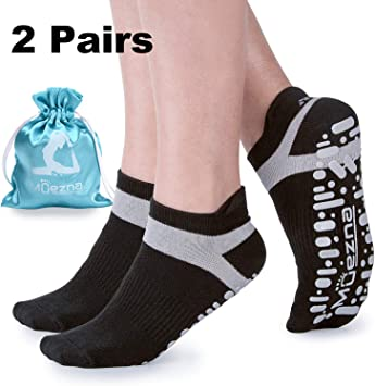 Muezna Non Slip Yoga Socks for Women, Anti-Skid Pilates, Barre, Bikram Fitness Socks with Grips, Size 5-10