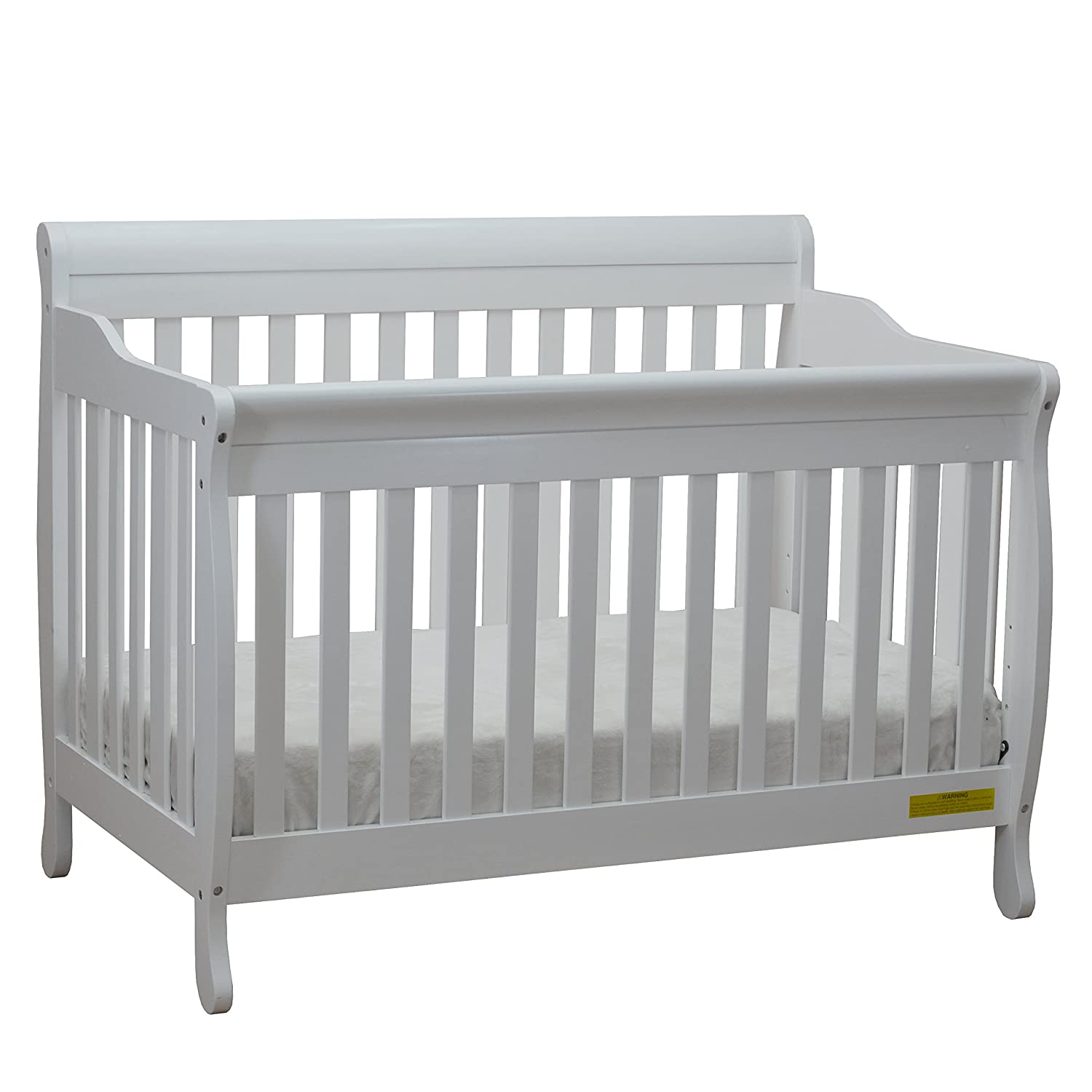 Athena Alice 4 in 1 Crib with Toddler Rail, White