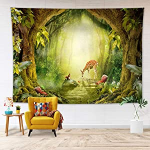 HVEST Fairy Tale Forest Tapestry Mushrooms and Animal Deer in the Green Wonderland Jungle Tapestries Misty Forest Wall Hanging Blanket for Living Room Bedroom Girls Dorm Inden Room Decor, 60x40 Inches