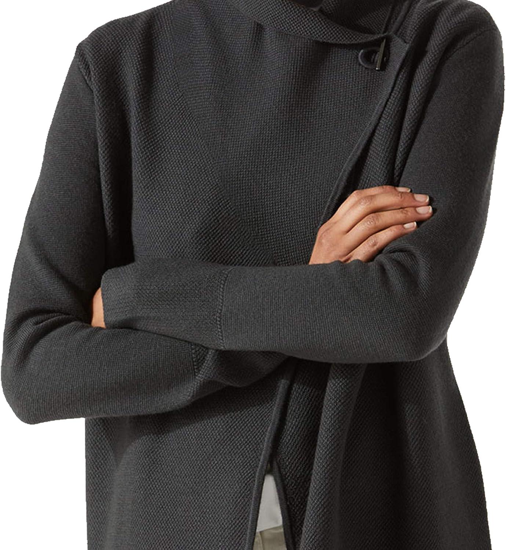 Brunella Gori Cardigan Oversize Donna con Elegante Bottone sul Collo Color Grigio Scuro