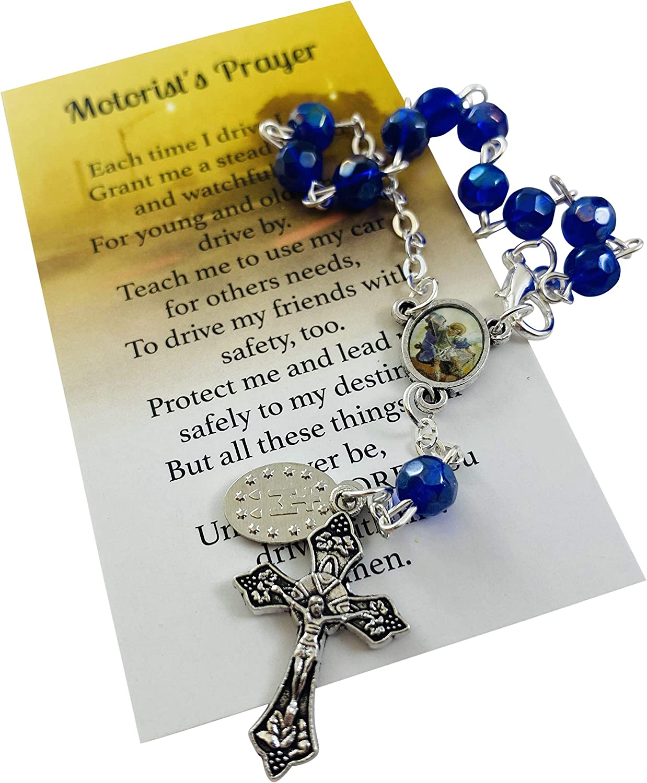 Westmon Works St Michael Auto Visor Rosary Set with Motorist Prayer Card