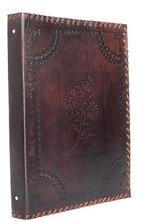 Herbario * Carpeta Archivador 4 Anillos A4 Piel Genuina Hecho Mano India Flor: Amazon.es: Oficina y papelería