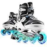 Marcent Inline Skates Adjustable for Kids, Roller Blades Adults Women Boys and Girls Beginners with Light up Wheels