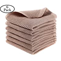 AURNEW 6 Pack Thick Kitchen Cloth Dish Towels,13X13 inches Waffle Weave Kitchen...