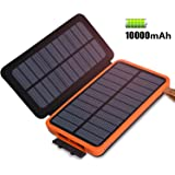 Solar Charger 10000mAh, FEELLE Waterproof Solar Power Bank with 2 Solar Panels Portable Phone Charger External Battery Pack with Dual USB Ports and LED Flashlight for iPhone, iPad, Smartphones and Tablets