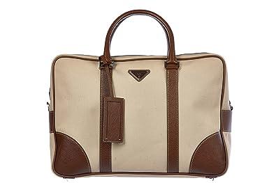 Amazon.com  Prada briefcase attaché case laptop pc bag canapa saffiano beige   Shoes 22bb3443c4f4c