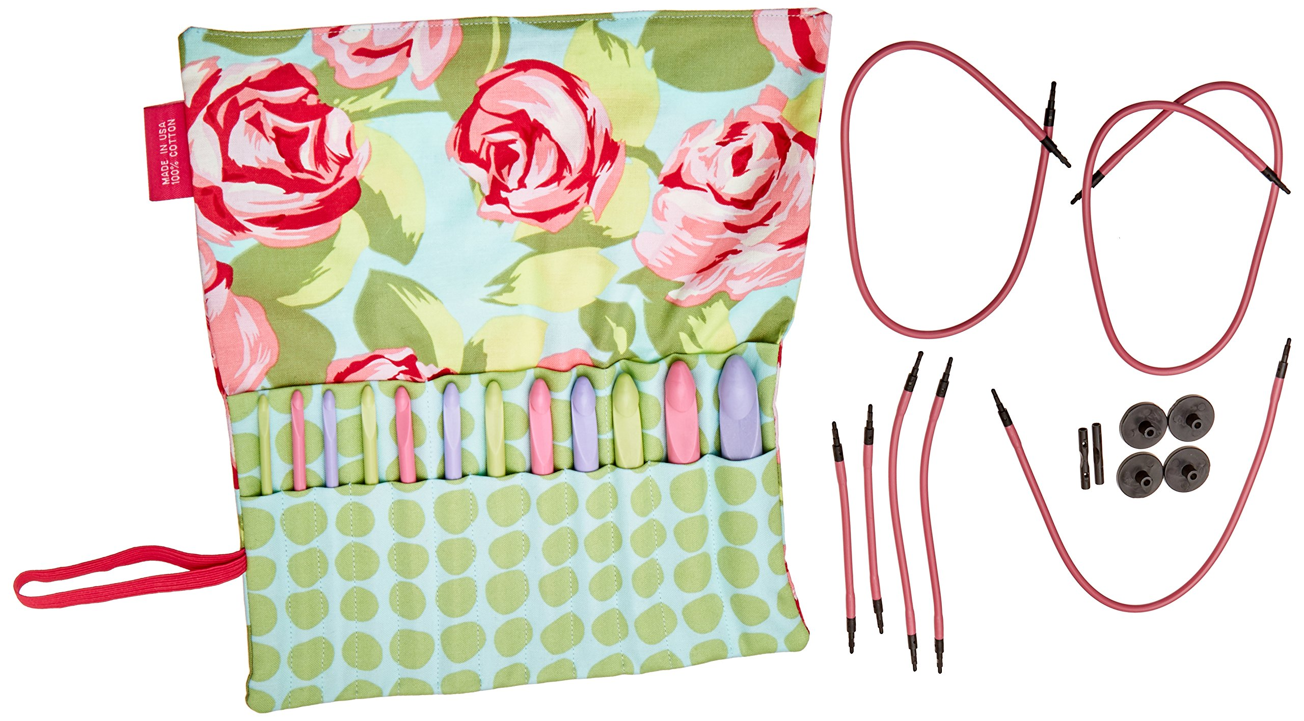 Denise2Go, Crochet for a Cure Interchangeable Crochet Hook Set ''Roses and Dots'' by Denise Needles (Image #1)