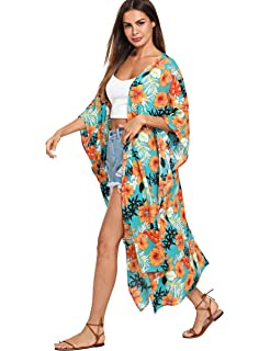 9d96146d0377 Women's Chiffon Leaves Kimono Cardigan Open Front Maxi Dress with ...