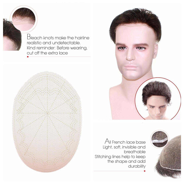 Lordhair French Lace Toupee Para Hombres # 4ASH Cabello Humano Protesis Capilar Hombre: Amazon.es: Belleza