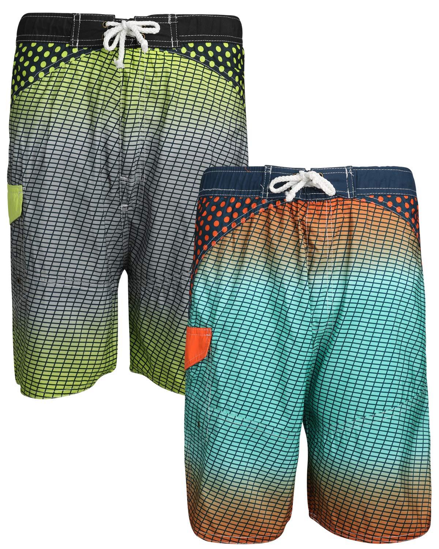 Quad Seven Boys Printed Swim Trunks (2 Pack), Black Lime/Navy Orange, Size 16-18'