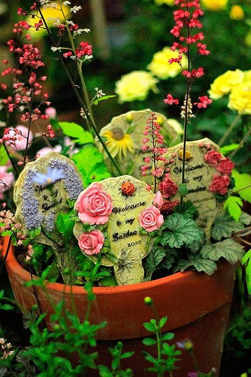 Sungmor - Adornos de Resina Coloridos para jardín o Patio en Palos | Decoración de Plantas para jardín | Adecuado Tanto para Uso Interior como Exterior, House: Amazon.es: Jardín