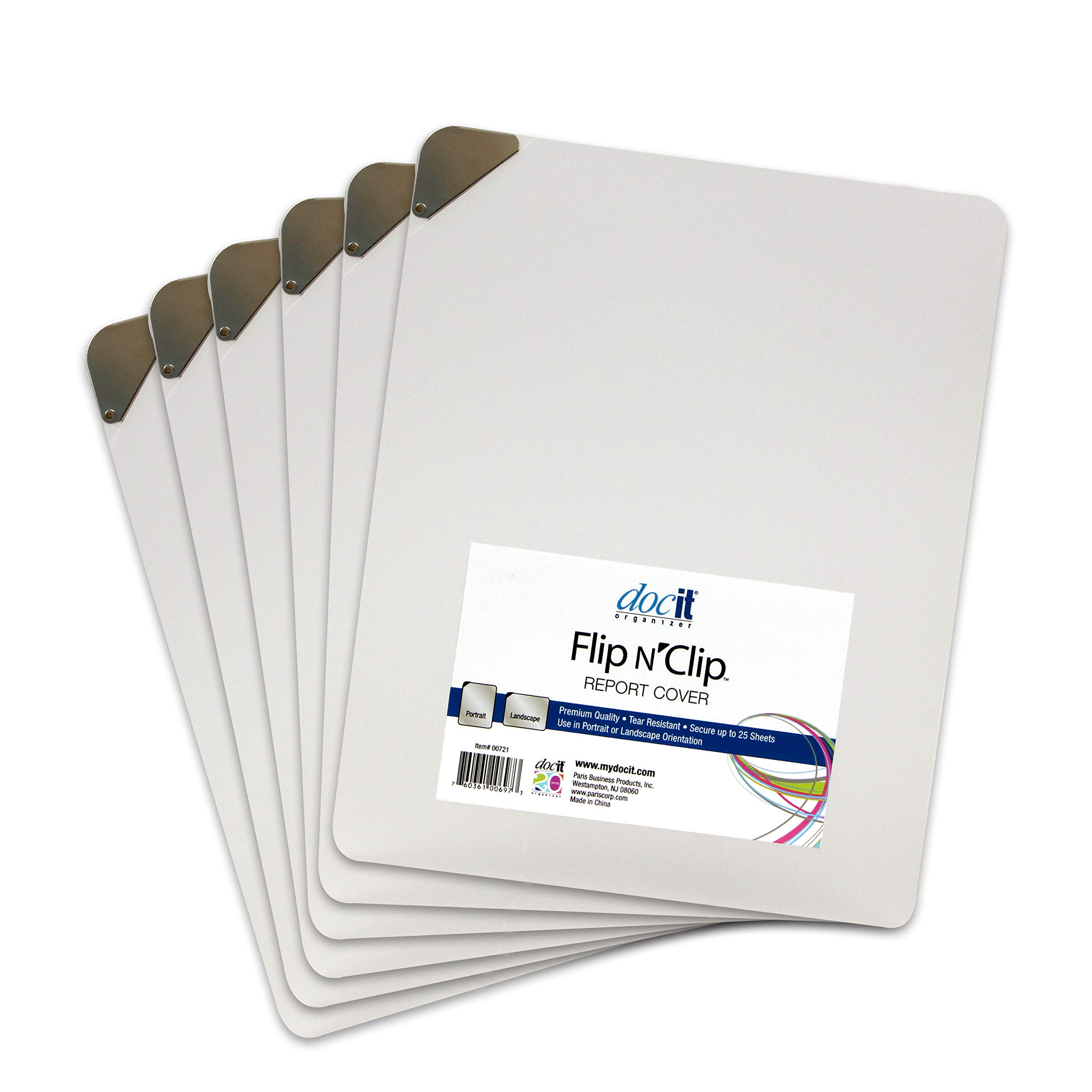 DocIt Flip n' Clip Report Cover with Swing Clip, Works with Portrait or Landscape Presentations, Holds 25 Sheets, 6-Pack, Frosted (00721-C)