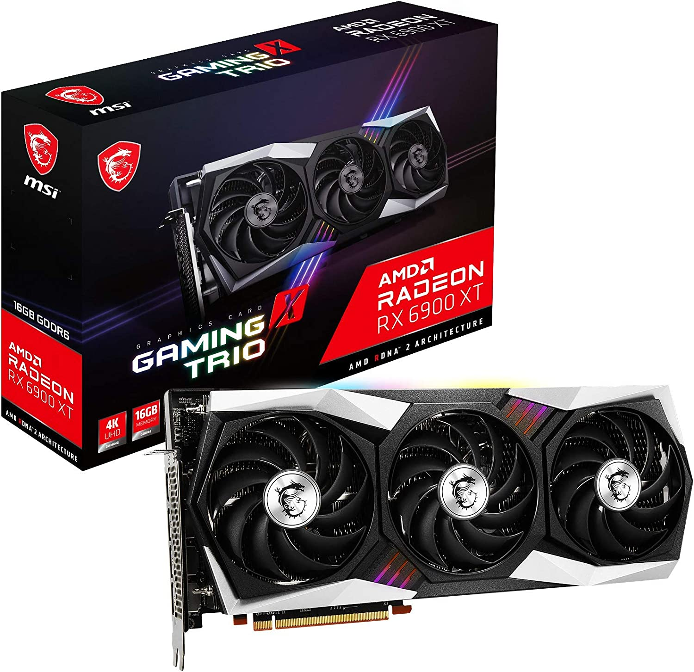 MSI Gaming Radeon RX 6900 XT Boost Clock Up to 2340 MHz 256-bit 16GB GDDR6 DP/HDMI Triple Torx 4.0 Fans FreeSync DirectX 12 VR Ready RGB Graphics Card (RX 6900 XT Gaming X Trio 16G)