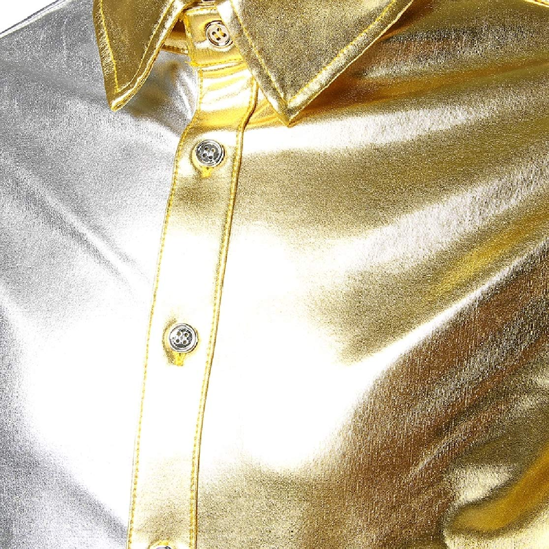Comaba Mens Bright Color Oversize Gilded Evening Club Tees Shirt