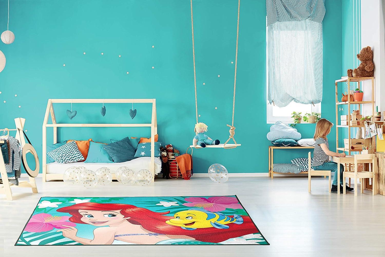 Large Area Rug Measures 4 x 5 Feet Offical Disney Pixar Product Features Elsa /& Anna Jay Franco Disney Frozen Sisters Kids Room Rug