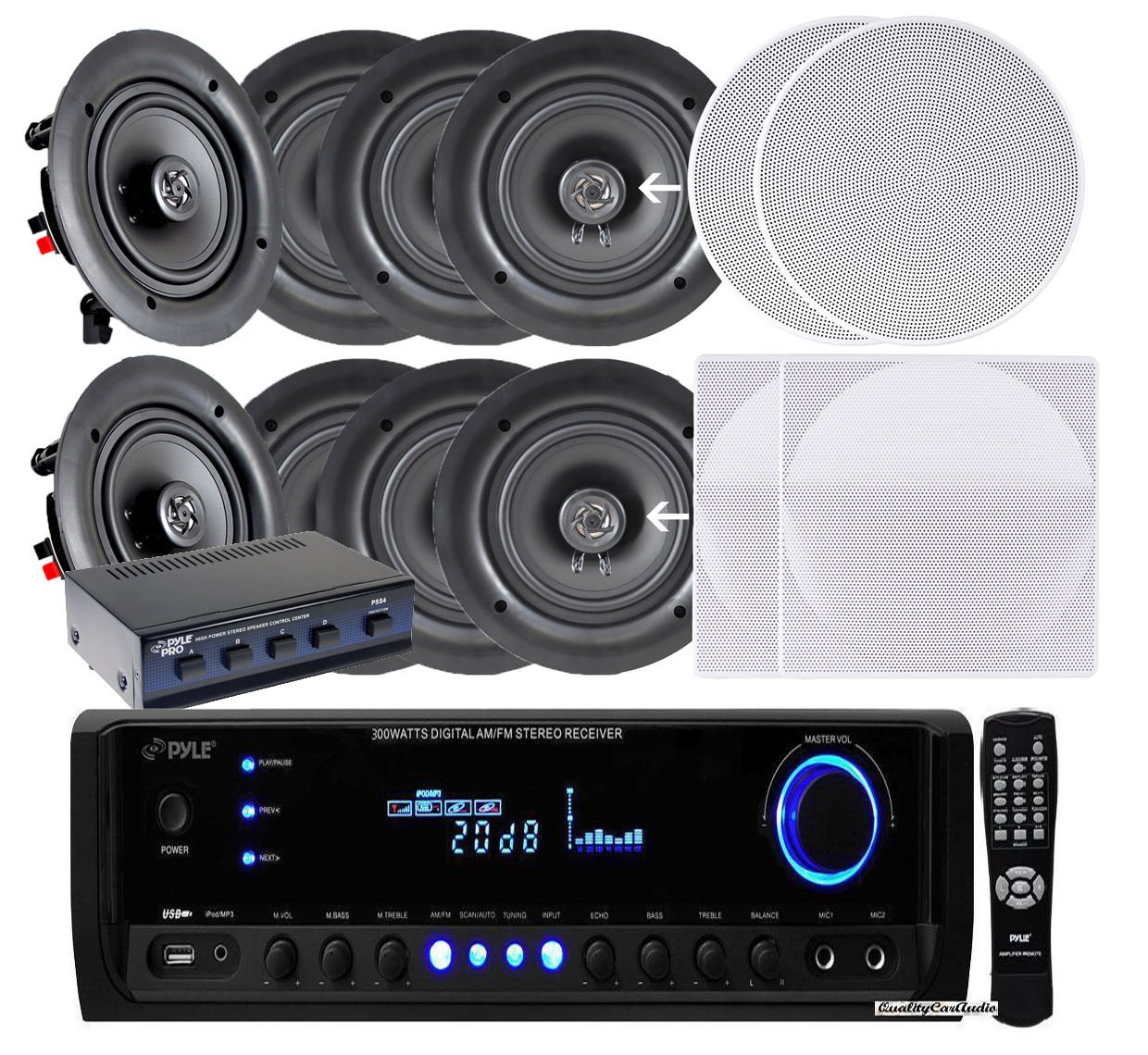 Pyle KTHSP390S 4 Pairs of 150W 5.25'' In-Wall / In-Ceiling Stereo White Speakers w/ 300W Digital Home Stereo Receiver w/ USB/SD/AUX Input, Remote w/ 4 Channel High Power Stereo Speaker Selector by Pyle