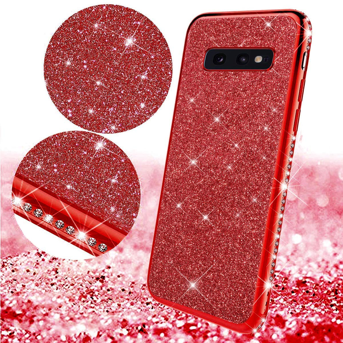 Uposao Compatible with Samsung Galaxy S10e Case Glitter Cute Girl Women Bling Crystal Diamond Rhinestone Clear Protective Phone Case Cover Shockproof TPU Rubber Silicone Cover,Rose Gold