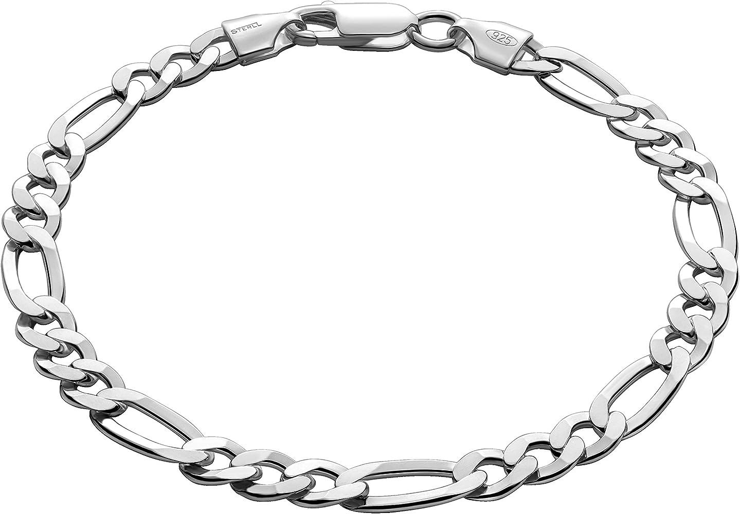 STERLL Pulsera para hombre de plata 925, 20 cm de longitude, con caja de joyas, ideal como regalo de hombre: Amazon.es: Joyería