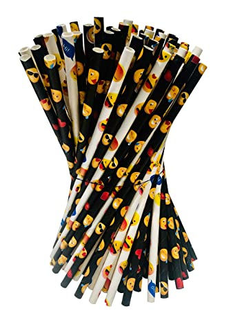 Emoji Party Supplies and Emoji Party Decorations Paper Straws | Unwrapped  150 ct  Pack of 100% Biodegradable, Eco-Friendly Paper Emoji Straws and